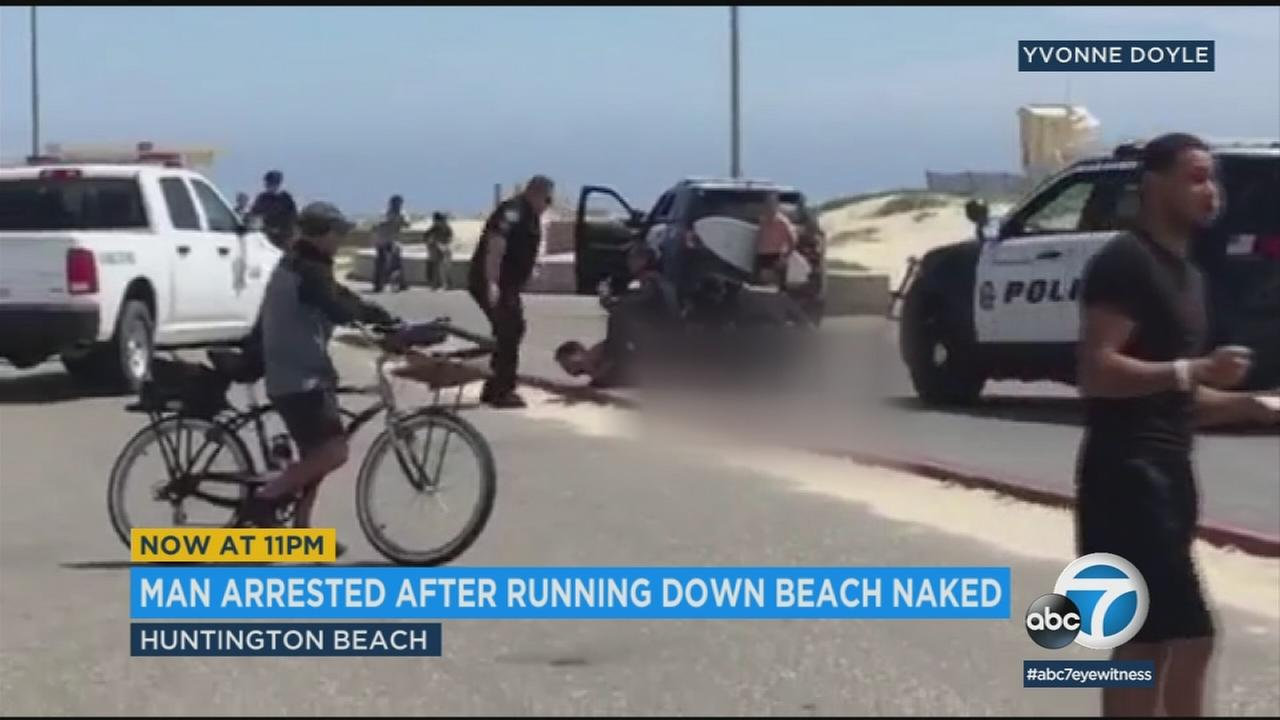 Police arrested a man on Sunday for indecent exposure and possible public intoxication after running naked down Bolsa Chica State Beach in Orange County.