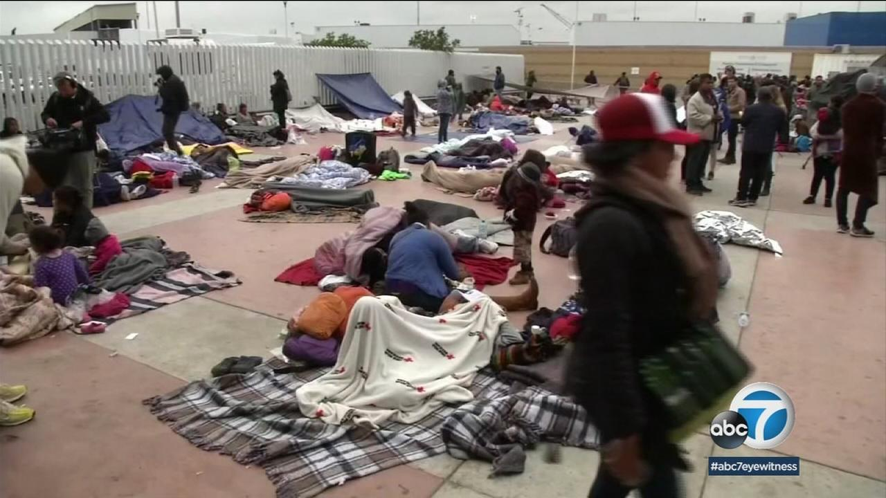 Migrants from Central America who are seeking asylum in the U.S. were seen in Tijuana, Mexico, looking for shelter and help.
