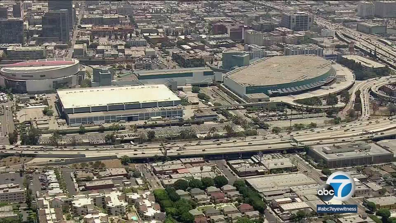 The Los Angeles Convention Center complex is shown in a photo.