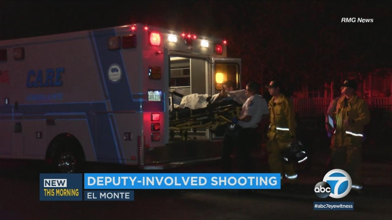 Emergency personnel are seen in El Monte, where a deputy-involved shooting occurred on Tuesday, May 8, 2018.