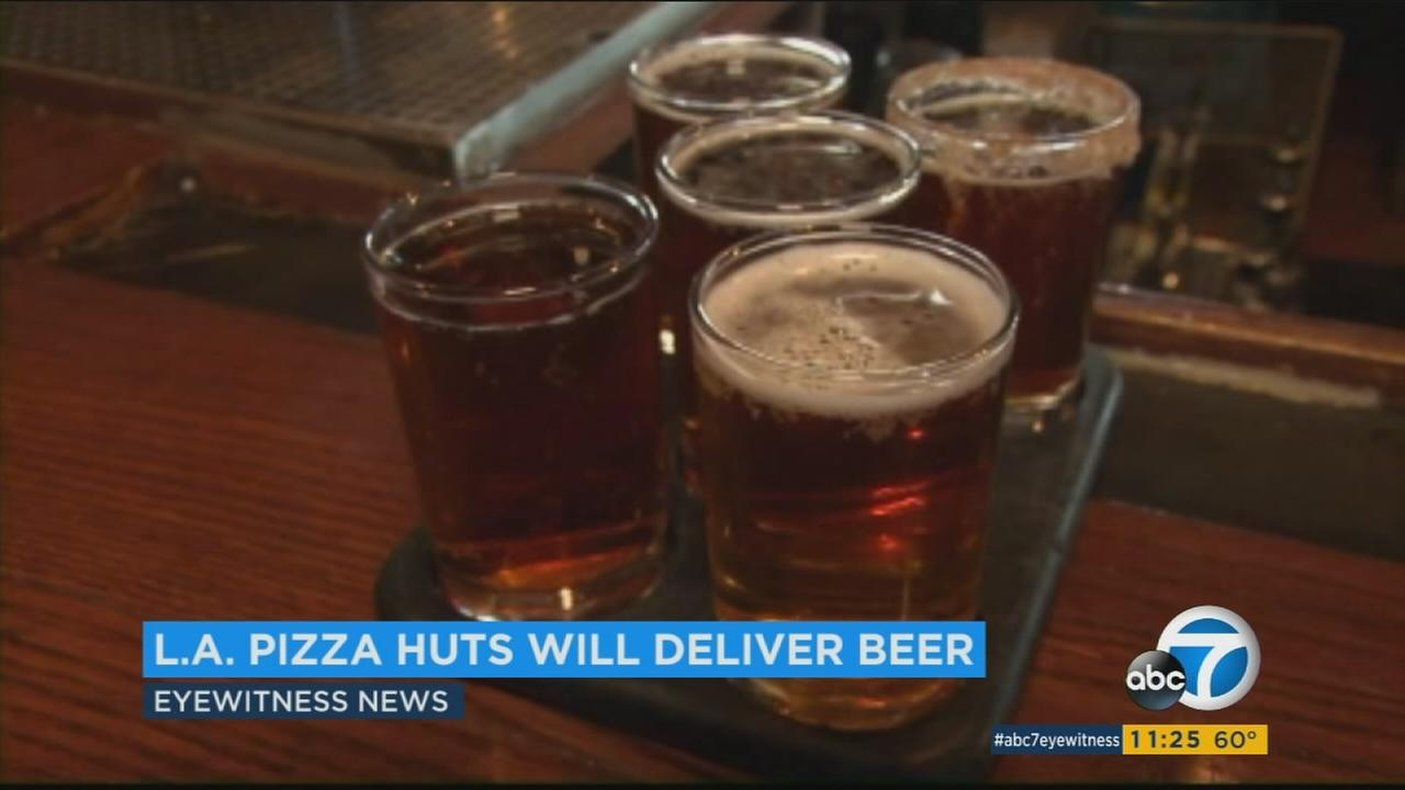 Pizza Hut is expanding its beer delivery pilot program to nearly 100 stores across California and Arizona.