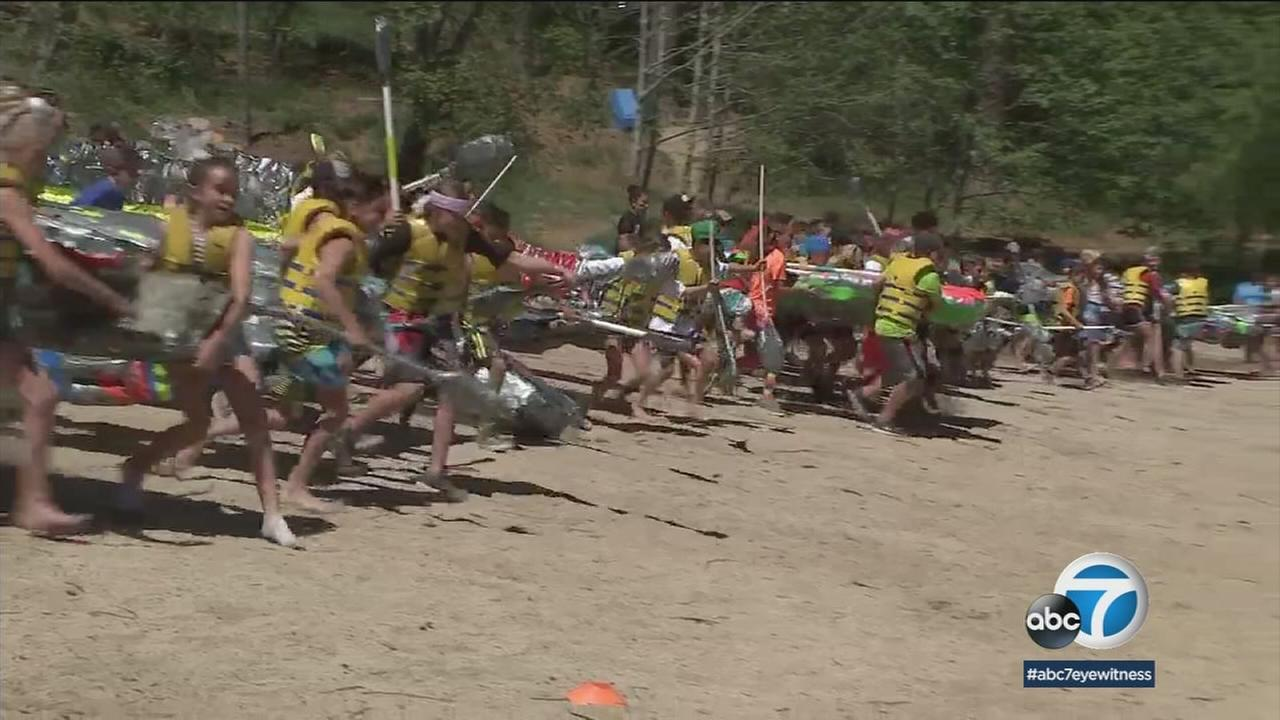 Elementary school students in the San Bernardino Mountains took what they learned in the classroom and put it to the test on Lake Gregory.