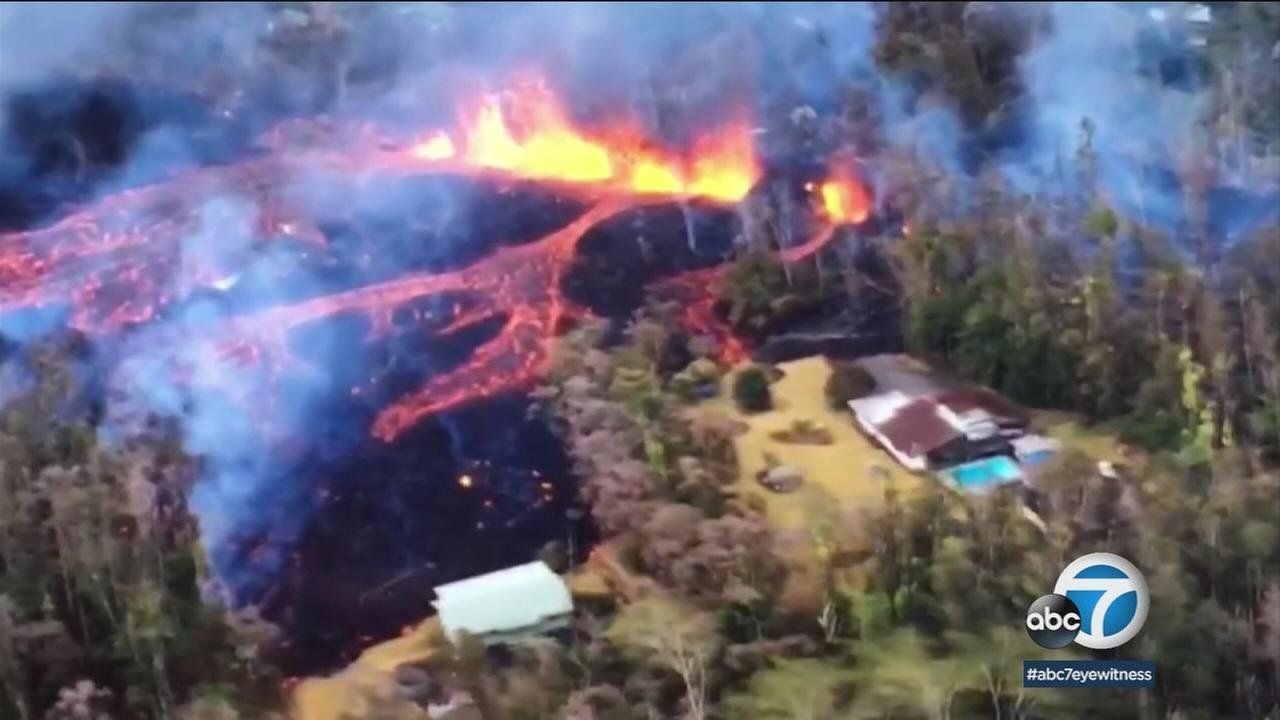 Footage shows lava flowing over homes and areas throughout the volcanos path in Hawaii.