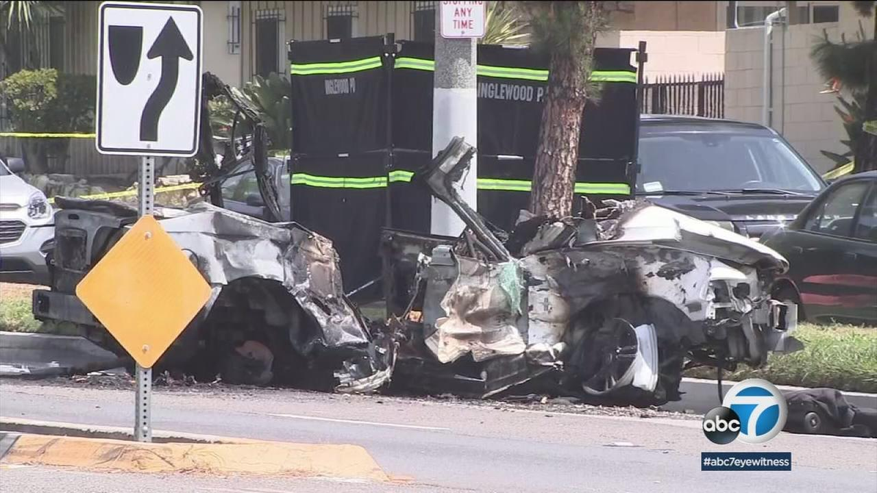 Two people are dead and one other person is in critical condition after a fiery crash in Inglewood Thursday morning.