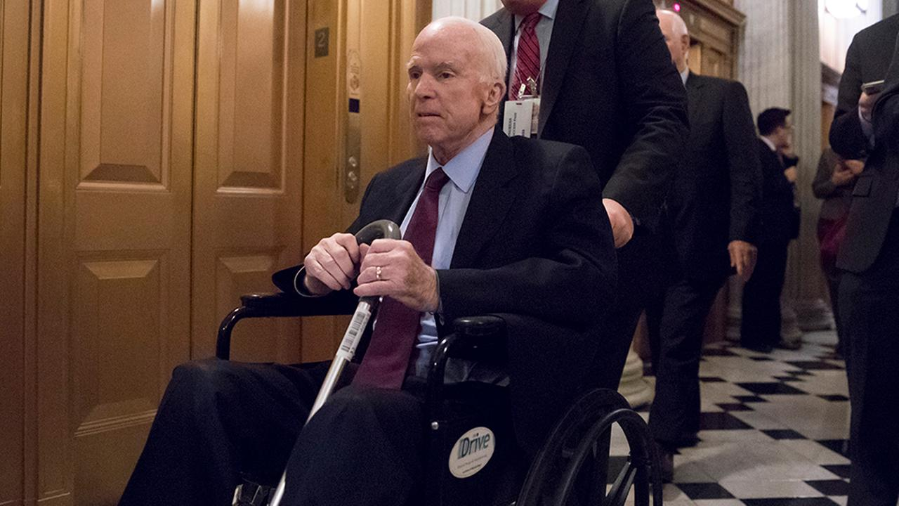 Senate Armed Services Chairman John McCain, R-Ariz., arrives for votes on Capitol Hill in Washington, Monday evening, Nov. 27, 2017.