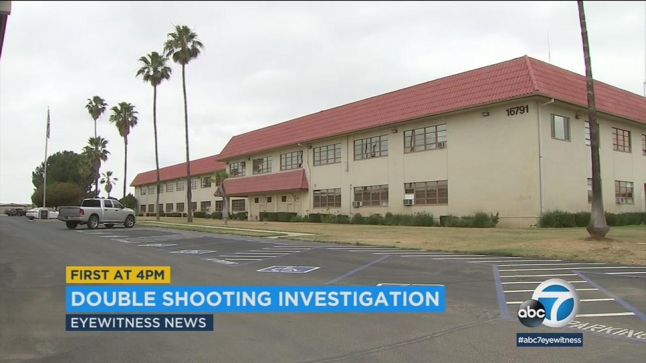 One of the sites of a double shooting is shown in Mead Valley.