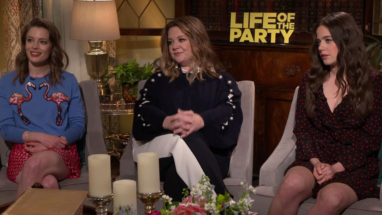 Actresses Melissa McCarthy, Molly Gordon and Gillian Jacobs are shown during an interview for the new comedy Life of the Party.