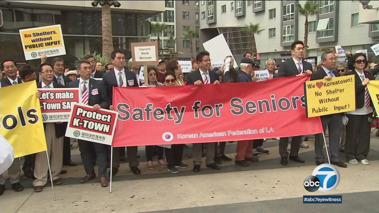 A large rally was held in Koreatown on Saturday over plans to put a temporary homeless shelter there.