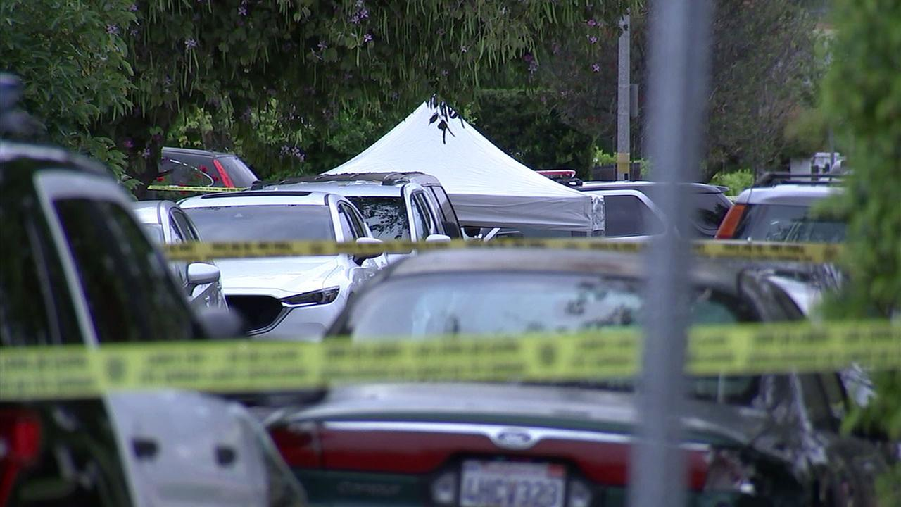 A crime scene where one man was killed and another critically wounded in a shooting in Encino on Sunday, May 13, 2018.