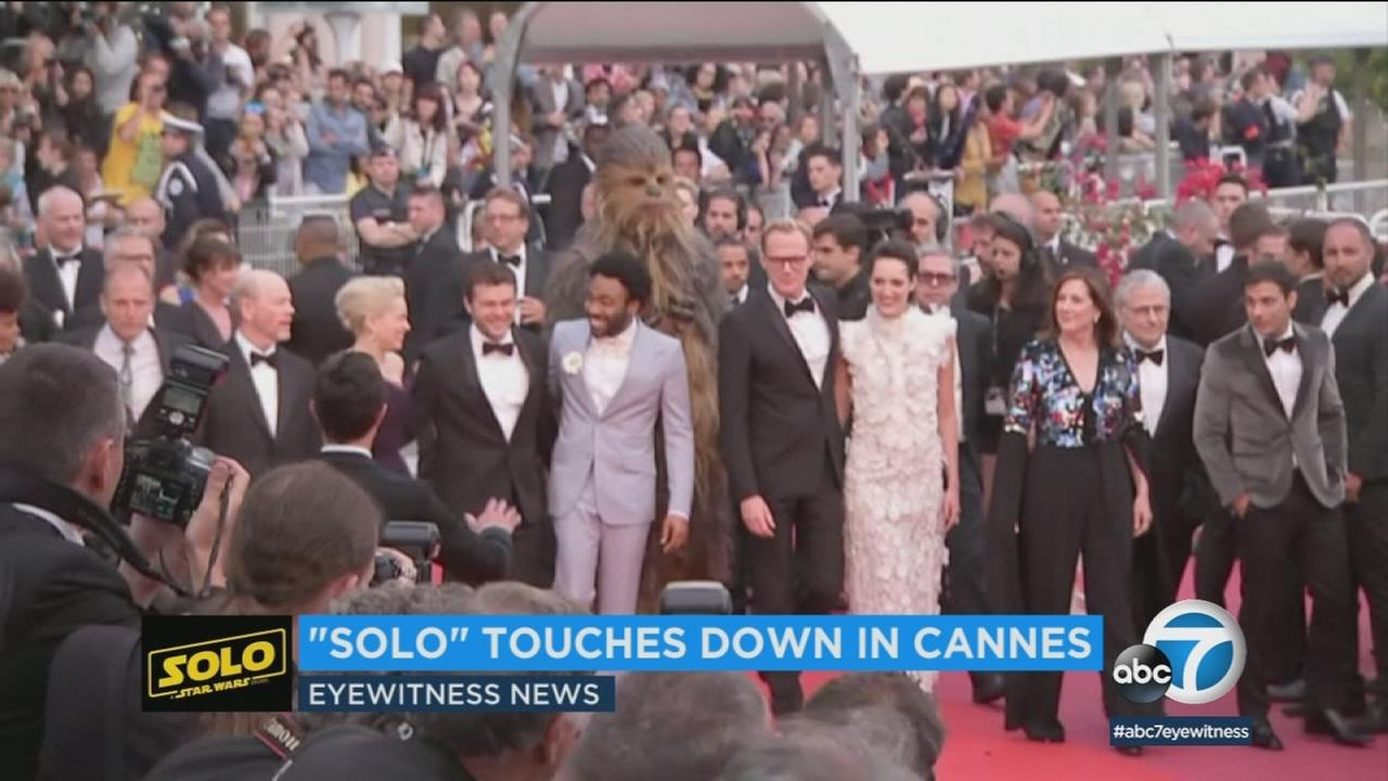 The cast of the latest Star Wars film, Solo: A Star Wars Story gathered at the Cannes Film Festival, and even brought along Chewbacca and some stormtroopers for the event.