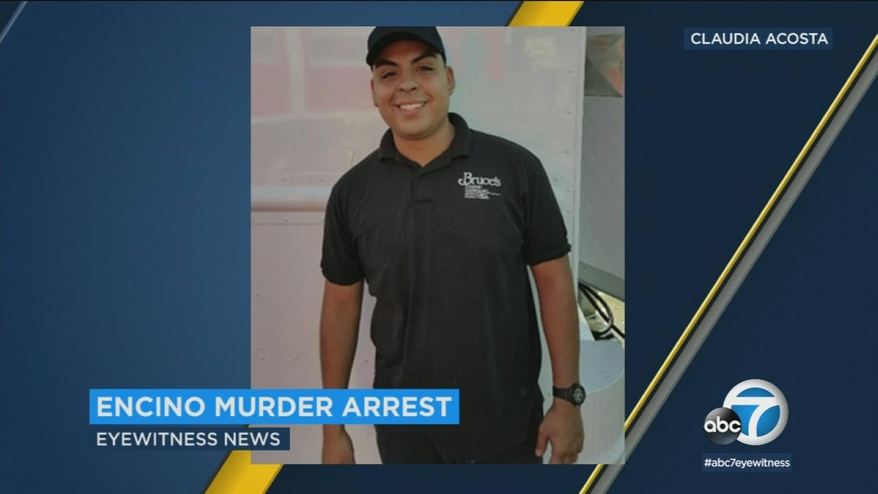 A murder suspect has been arrested in the death of a 28-year-old man who was shot early Sunday morning at a party in Encino, authorities said.
