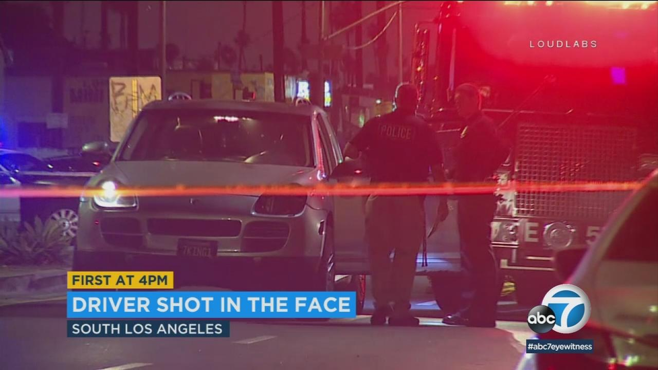 A man was shot in the face while driving a Porsche in South Los Angeles Saturday morning, and police are on the hunt for the gunman.