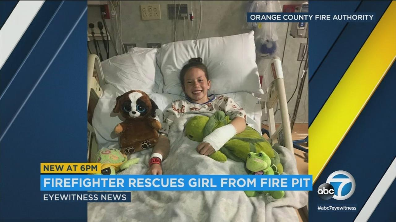 A 10-year-old girl is recovering after falling against a fire pit in Newport Dunes.