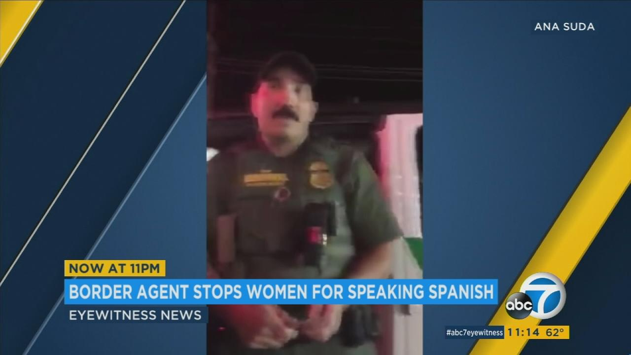 A U.S. Customs and Border Protection agent is seen in footage captured by one of two women questioned in Montana for speaking Spanish.