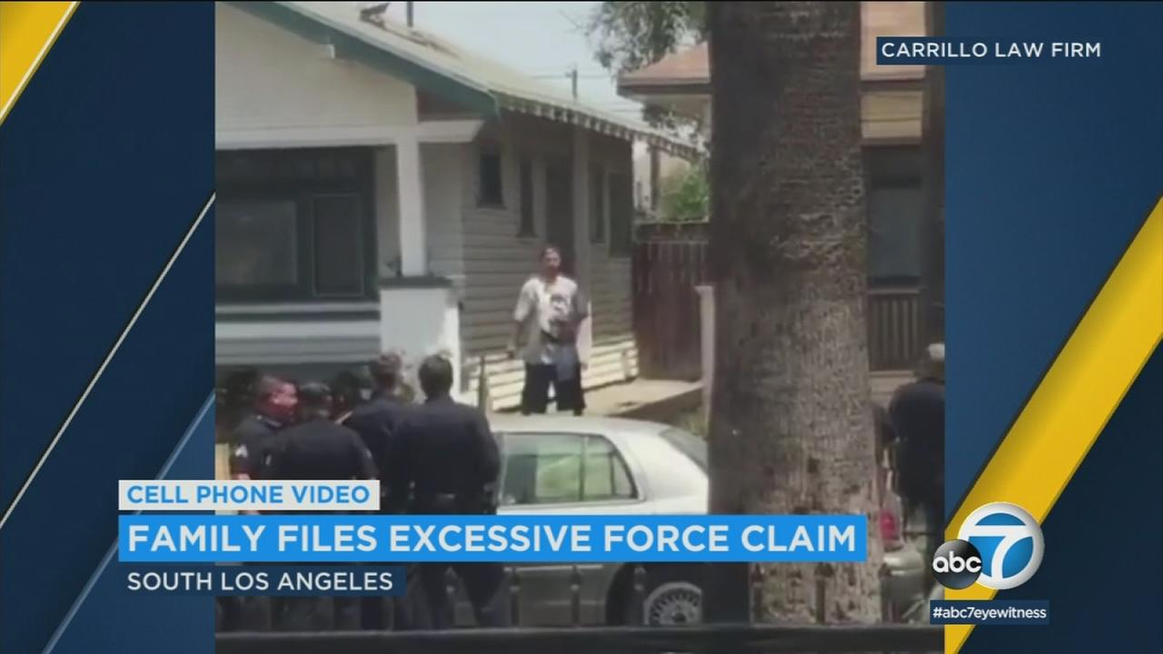 A family filed an excessive use of force claim after the man shown in the video died during a confrontation with LAPD.