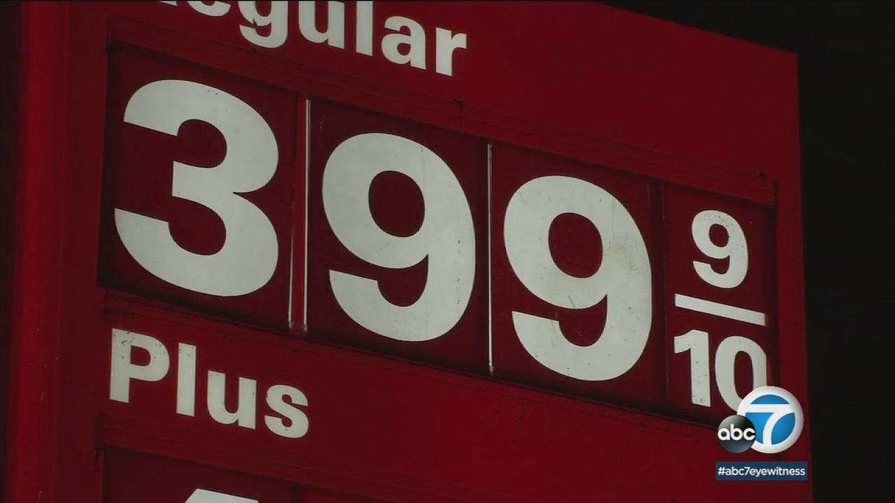 A gas price is shown on a billboard at a Southern California gas station.