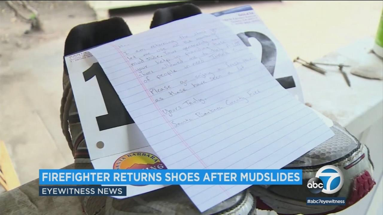 During the Montecito mudslides, one homeowner gave a pair of sneakers to a firefighter - and never expected to see them returned.
