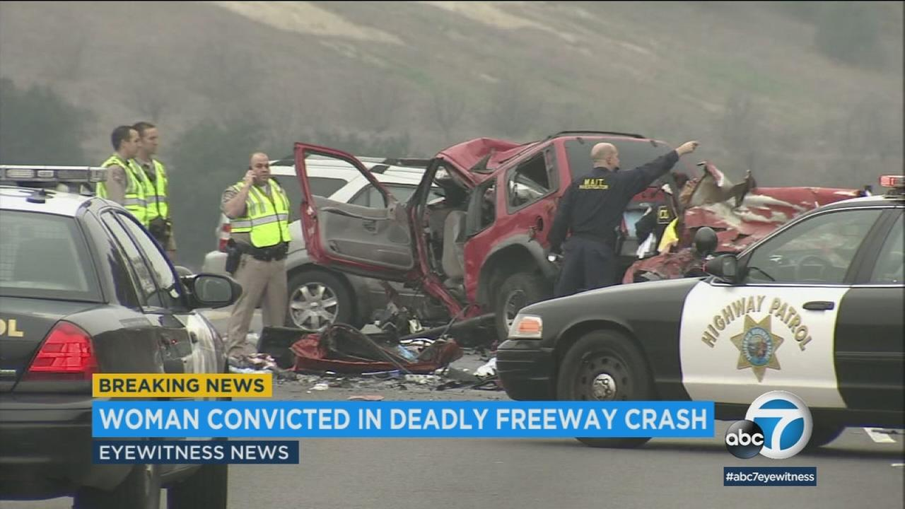 A woman who killed six people, including her own sister, in a wrong-way freeway crash in Diamond Bar has been convicted on six counts of second-degree murder.