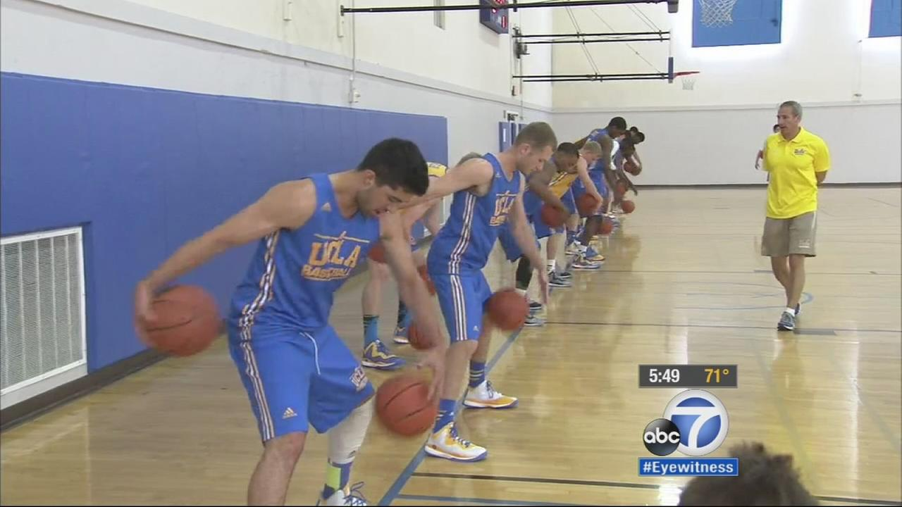 UCLA Bruins basketball team practices before the season on Tuesday, Oct. 14, 2014.