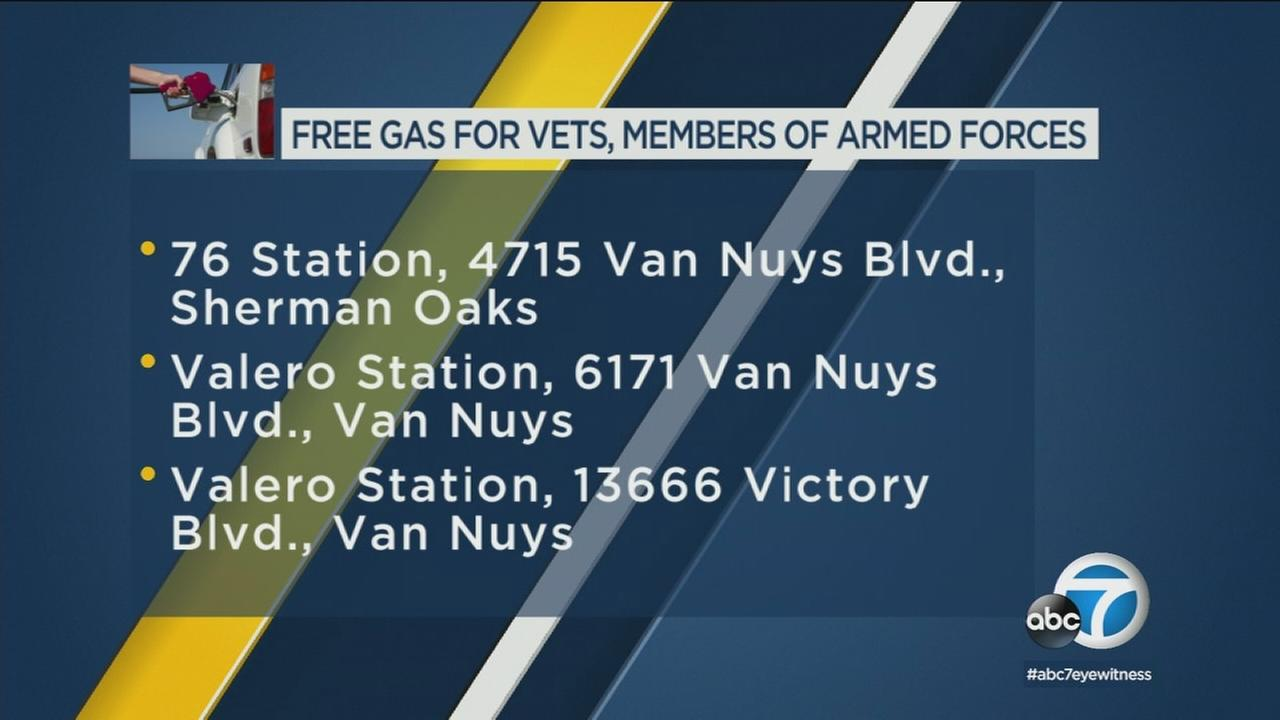 Several Southland gas stations provided free fuel to veterans as well as current servicemen and servicewomen less than a week before Memorial Day.