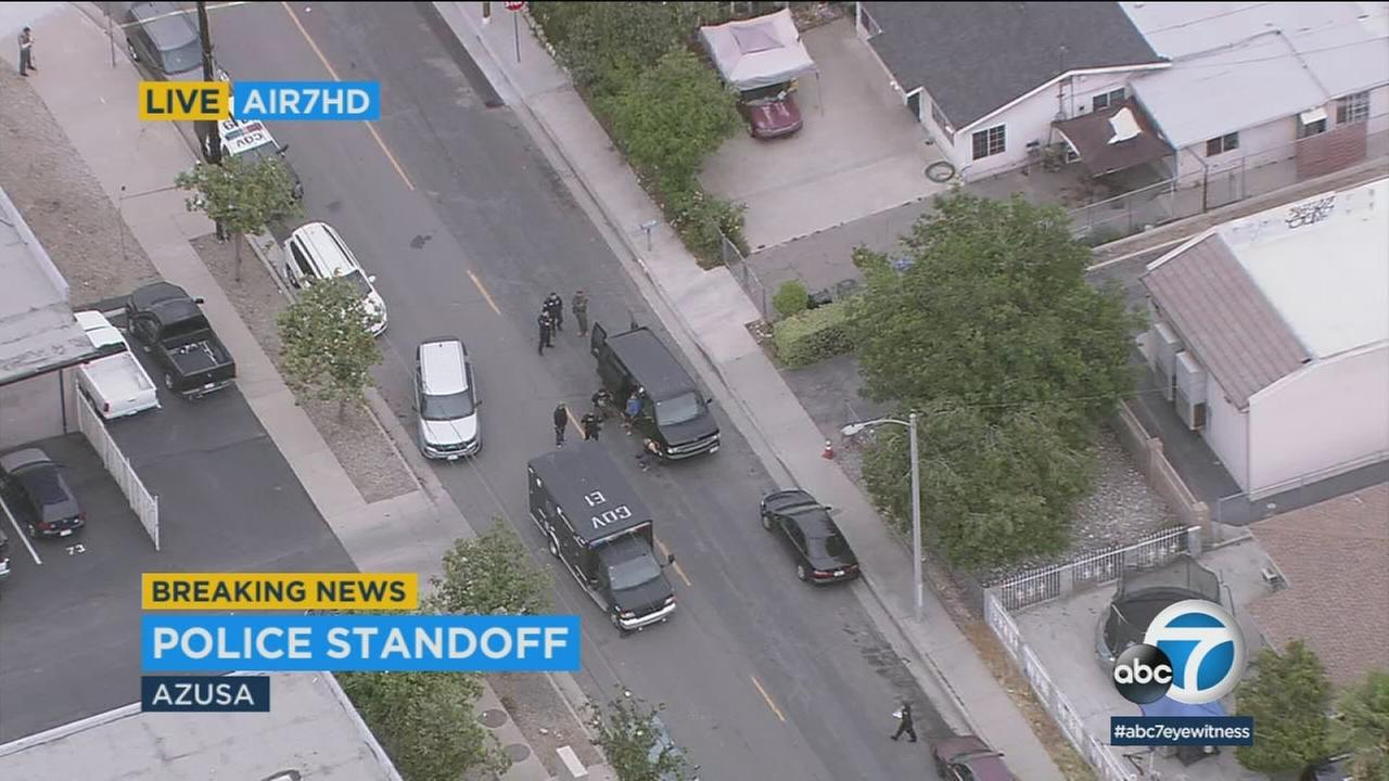 A Pomona police SWAT team was involved in a standoff after being fired upon by a gunman at a home in Azusa.
