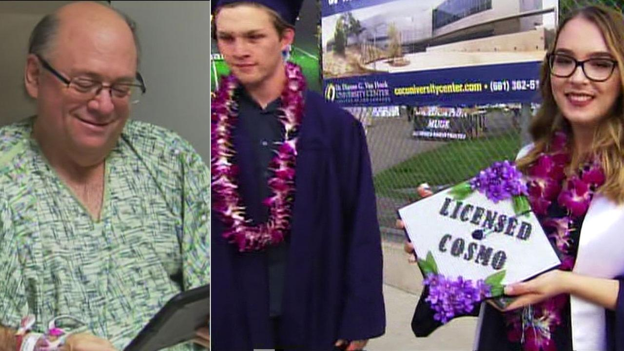A proud father whose twins graduated Thursday night was about to miss the momentous occasion because he is in the hospital - then, the staff had an idea.