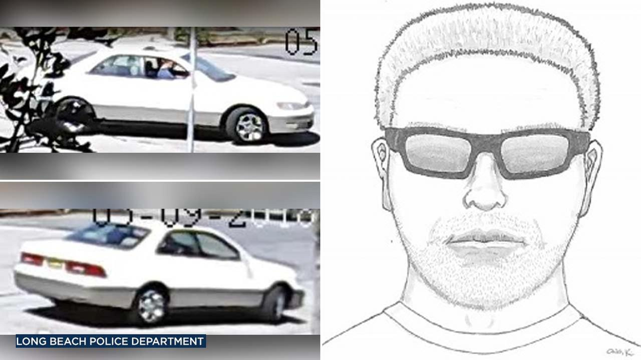 Long Beach police released a sketch of an indecent exposure suspect as well as images of his car in a press release.