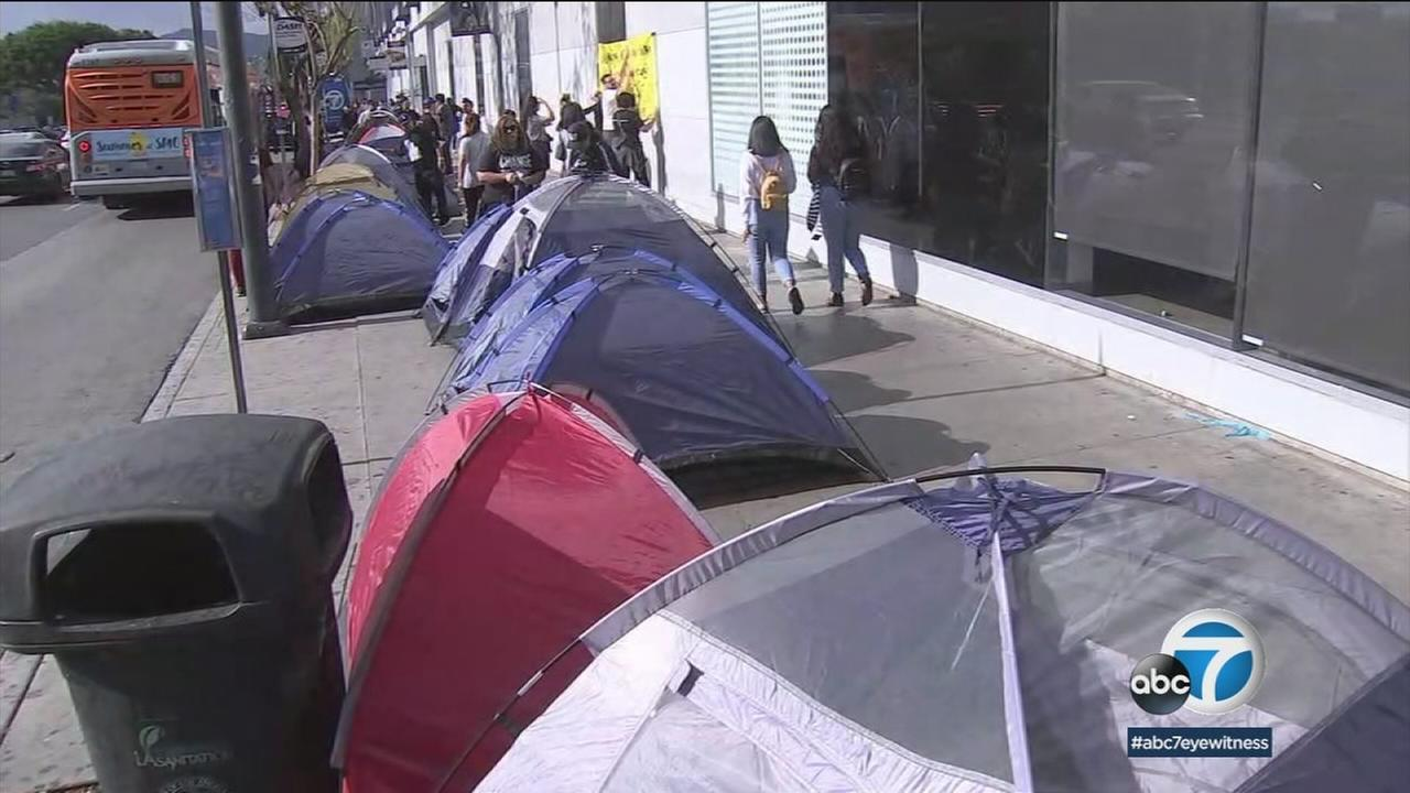 Camping tents for homeless people line the sidewalks in Koreatown.