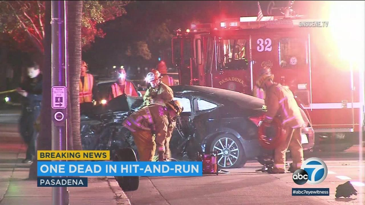 One person is dead after a hit-and-run crash in Pasadena early Sunday morning.