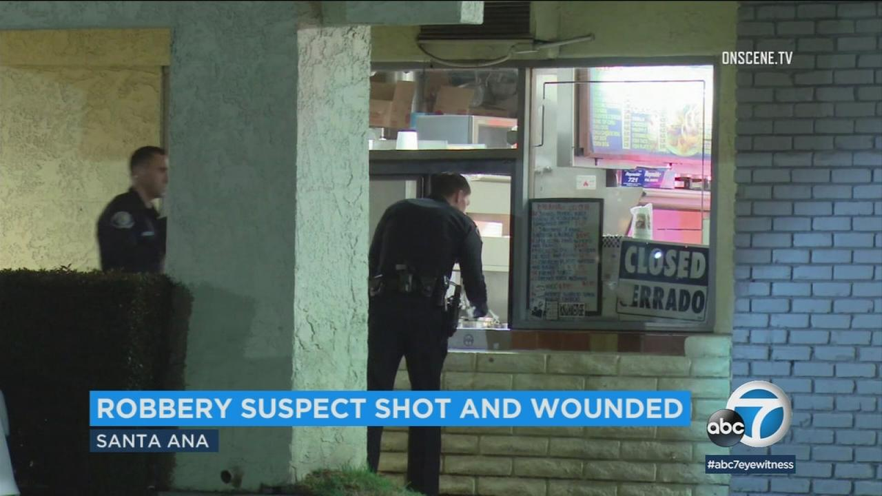 A man was shot while trying to rob a restaurant in Santa Ana and police are still looking for the shooter.