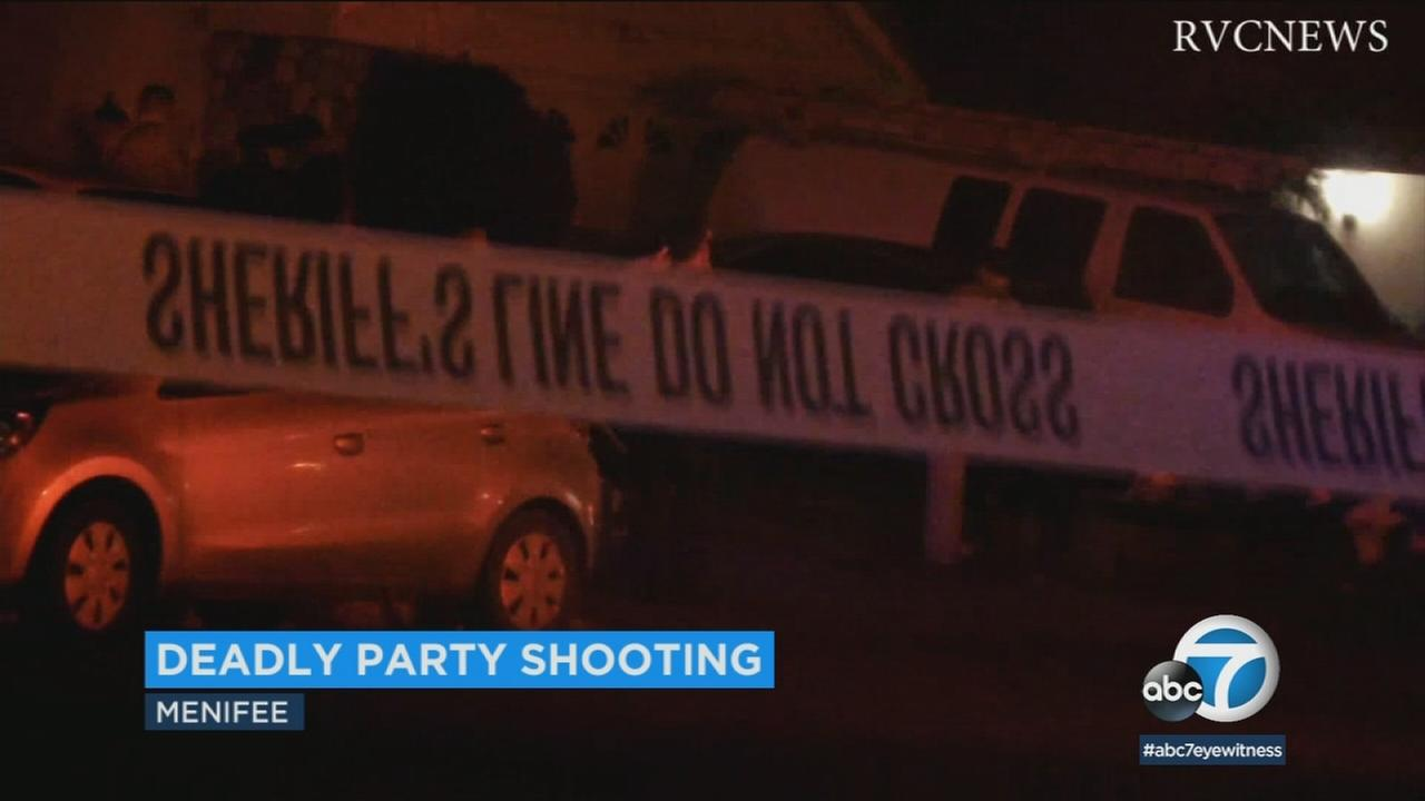 Authorities in Menifee are looking for a suspect who shot and killed a young man at a house party early Saturday morning.
