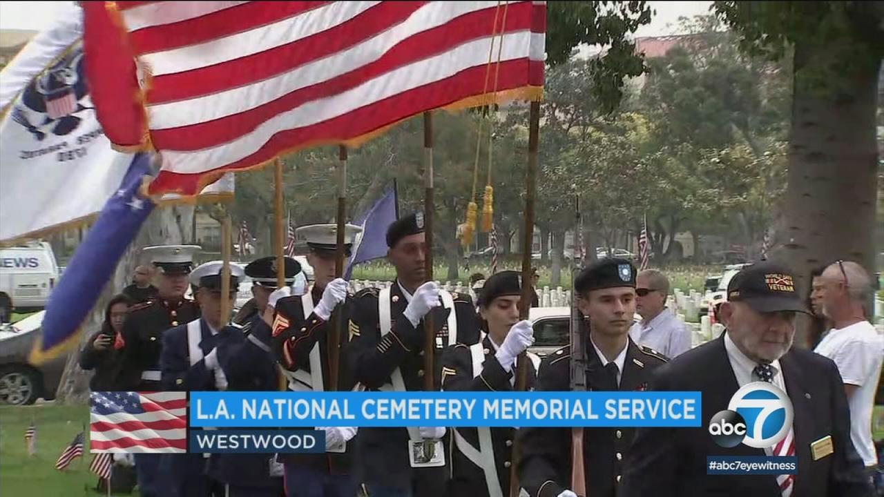 The L.A. National Cemetery hosted one of Southern Californias largest Memorial Day gatherings on Monday.