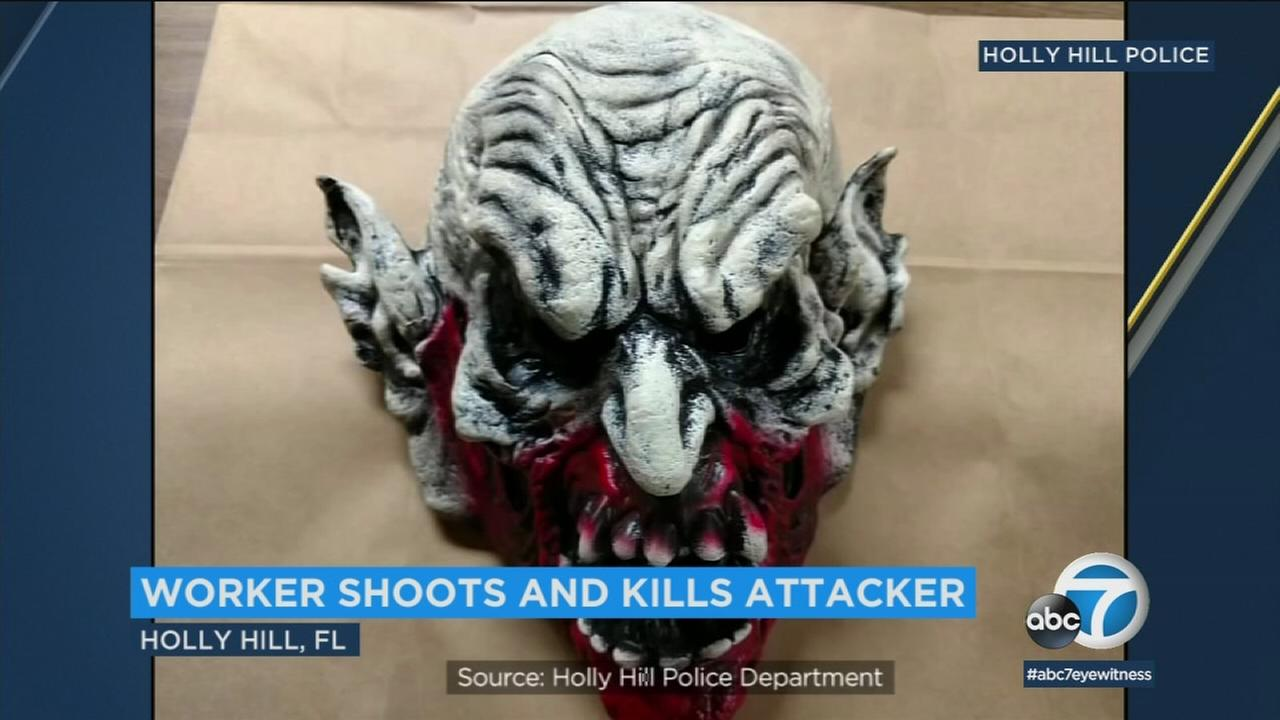 A man wearing this mask attacked a Little Caesars employee in Florida, but was shot and killed by his intended victim, police said.