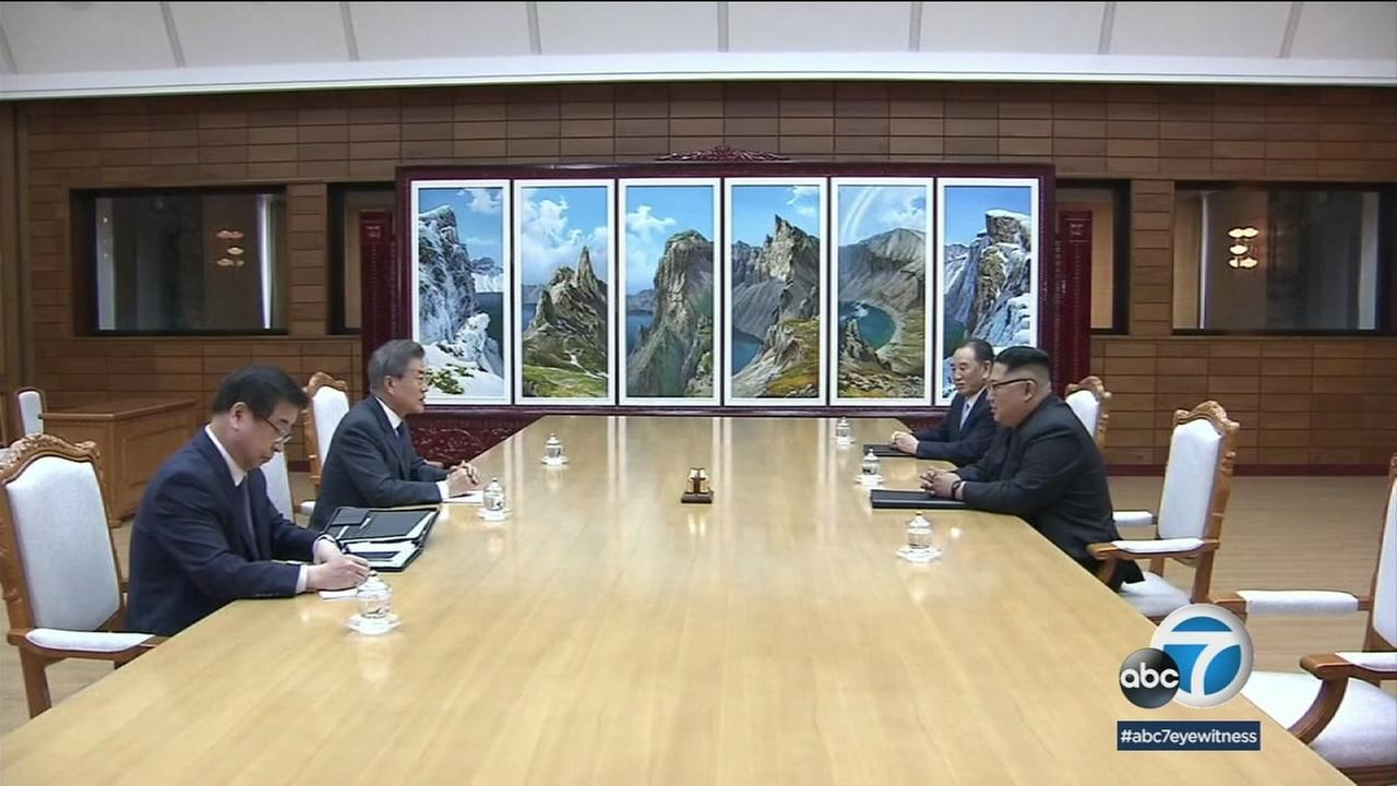 An undated photo of North and South Korean officials in a meeting.