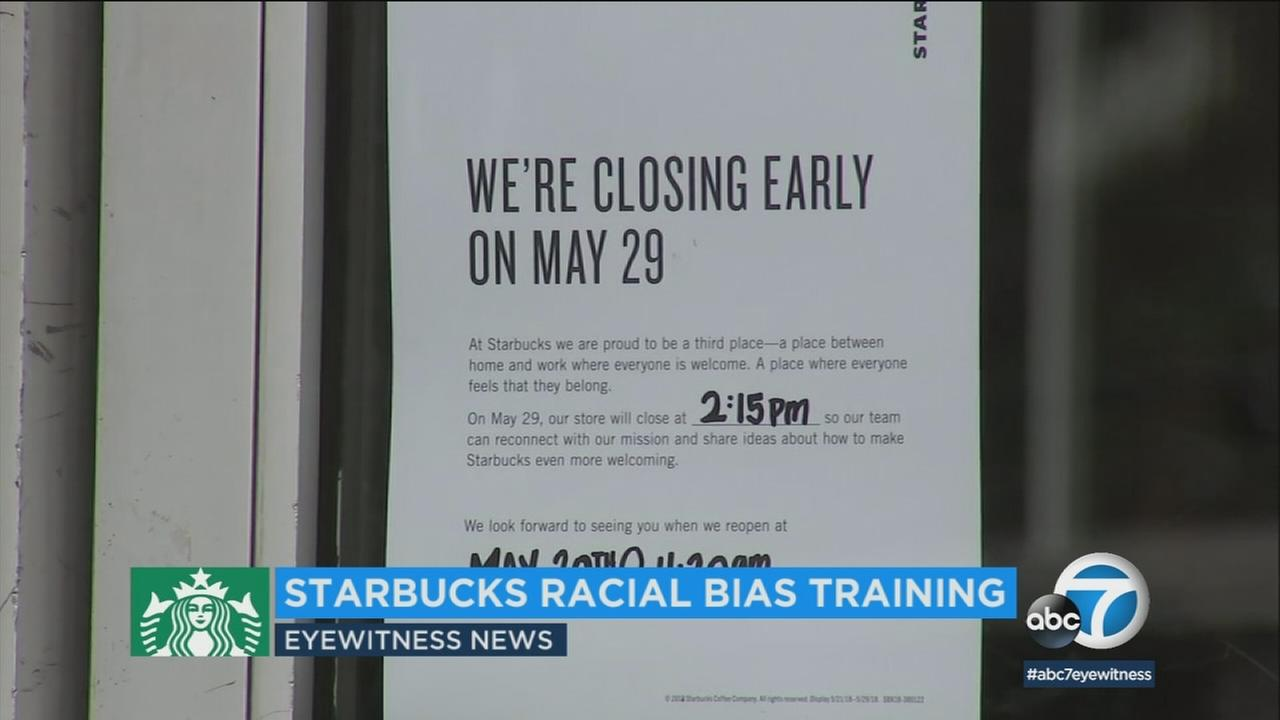 A sign at Starbucks states the store will be closed Tuesday for anti-bias training.