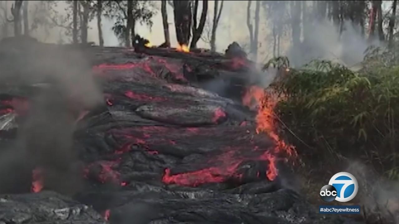 Lava seen from the Kilauea volcano.