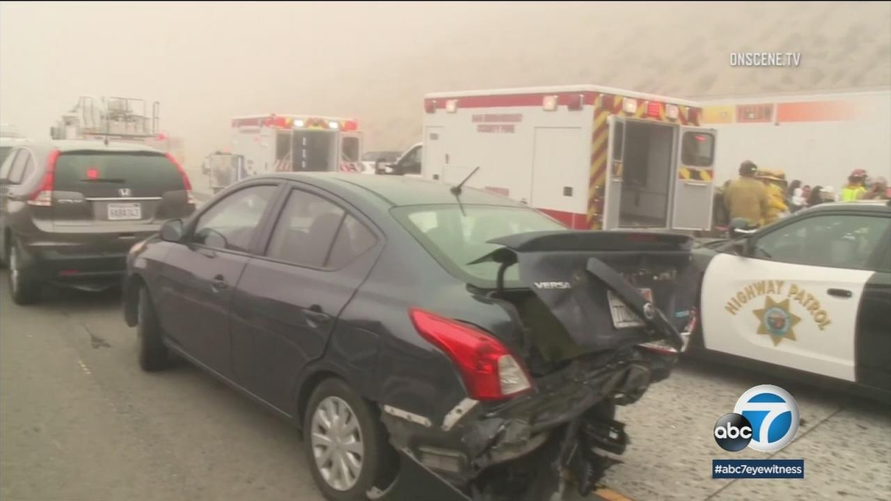Several wrecked cars on the 15 Freeway in the Cajon Pass following a chain-reaction crash that left more than a dozen people injured on Wednesday, May 30, 2018.