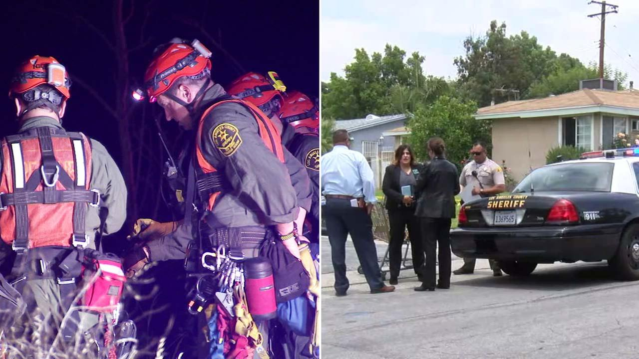 (Left) Authorities are seen near Highway 39 in the San Gabriel Mountains, where a body was found. (Right) Investigators are seen near an Azusa-area home.