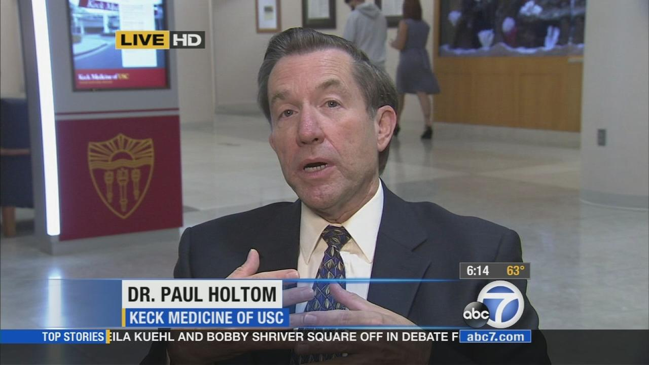 Dr. Paul Holtom, who is part of the infection control committee at Keck Medical Center of USC, appeared on the Eyewitness News Morning Show Friday, Oct. 17, 2014.