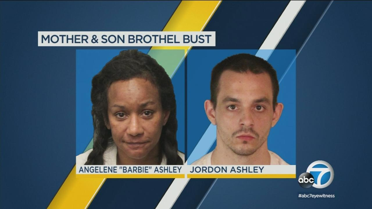 Mother and son are being held on pimping and pandering charges.