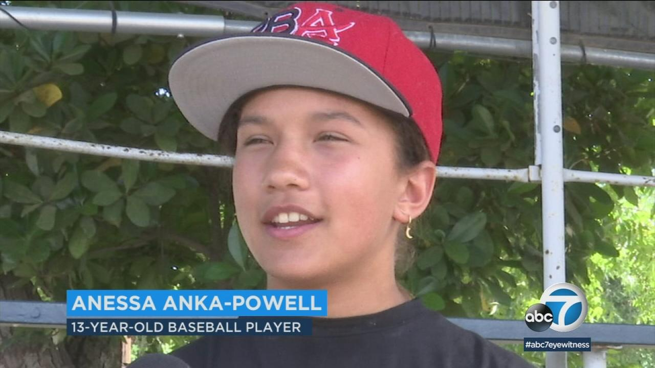 Anessa Anka-Powell, 13, is shown during an interview about her hard work playing baseball and passion for singing.