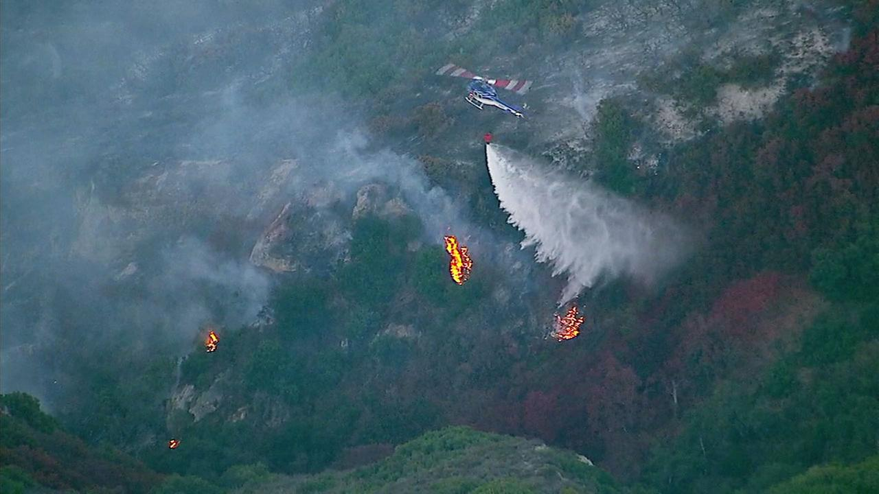 Flames seen from the Aliso Fire in Orange County on Saturday, June 2, 2018.