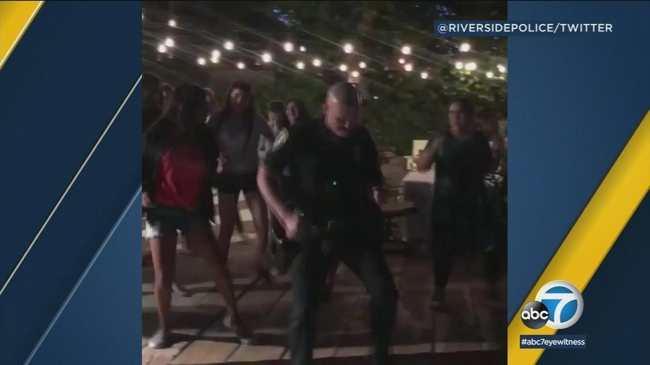 Riverside police were called for a loud party complaint Friday night and instead of shutting the party down, an officer joined in on the fun.