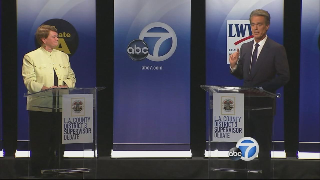 Sheila Kuehl (left) and Bobby Shriver (right) are seen during a debate on Friday, Oct. 17, 2014.