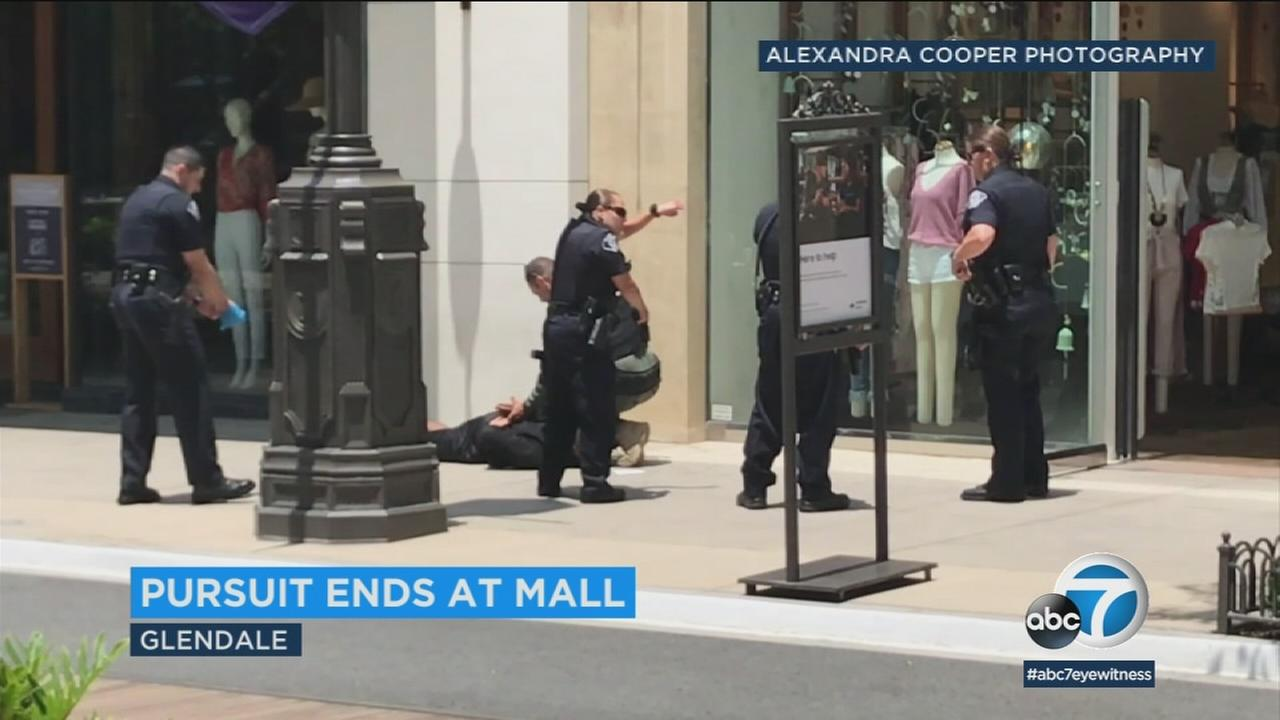 A burglary suspect was arrested at the Glendale Galleria after evading police during a chase on Wednesday.