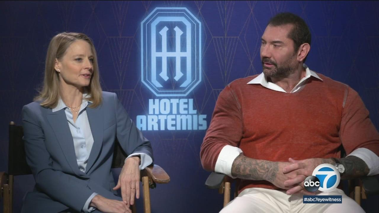 Jodie Foster and Dave Bautista are part of the ensemble cast that invites movie audiences to check into Hotel Artemis.
