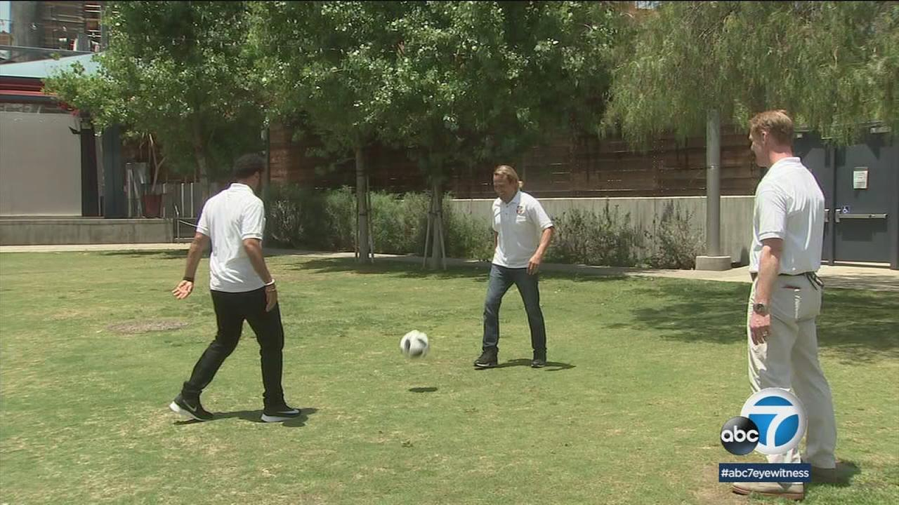 Three soccer stars were in Los Angeles trying to drum up interest for the Mexican national soccer teams World Cup games.