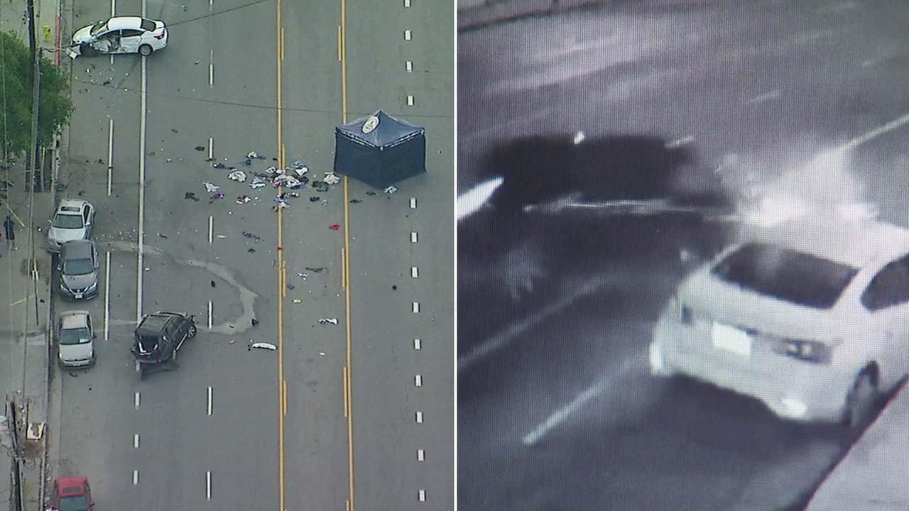 Cars involved in a fatal crash are seen in a surveillance image, right, and aerial image, left.