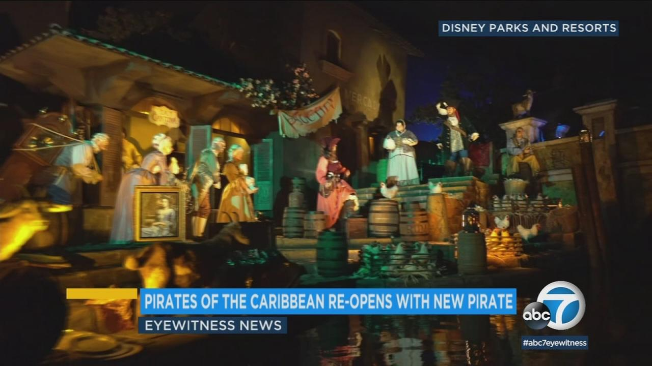 Disneylands Pirates of the Caribbean reopened Friday featuring Redd, the rides new female pirate.