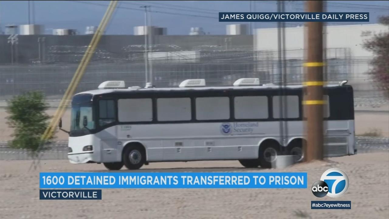 Approximately 1,600 immigrant detainees are being taken to federal prisons due to lack of space at detention centers, immigration officials say.